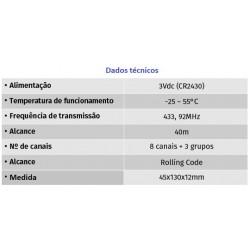 Comando 8 canais com programação