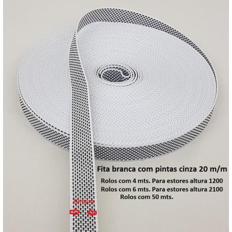 Rolo 4 mt fita branca 20 mm
